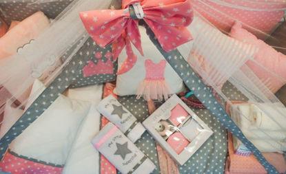 Εικόνα της Κουνουπιέρα με φιόγκο Handmade Stars Pink-Grey