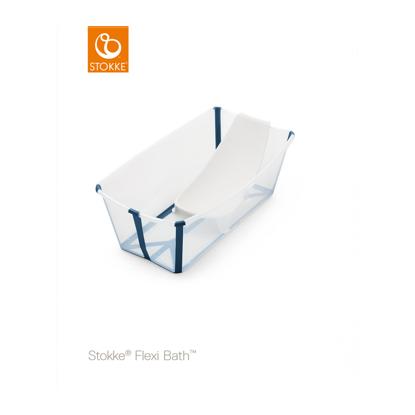 Εικόνα της Stokke Flexi Bath με βάση νεογέννητου και θερμοευαίσθητη βαλβίδα Transparent blue