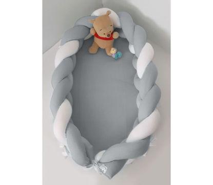 Εικόνα της Baby Oliver Φωλιά με Αποσπώμενη Πλεξούδα Λευκή - Γκρι 200x16 cm